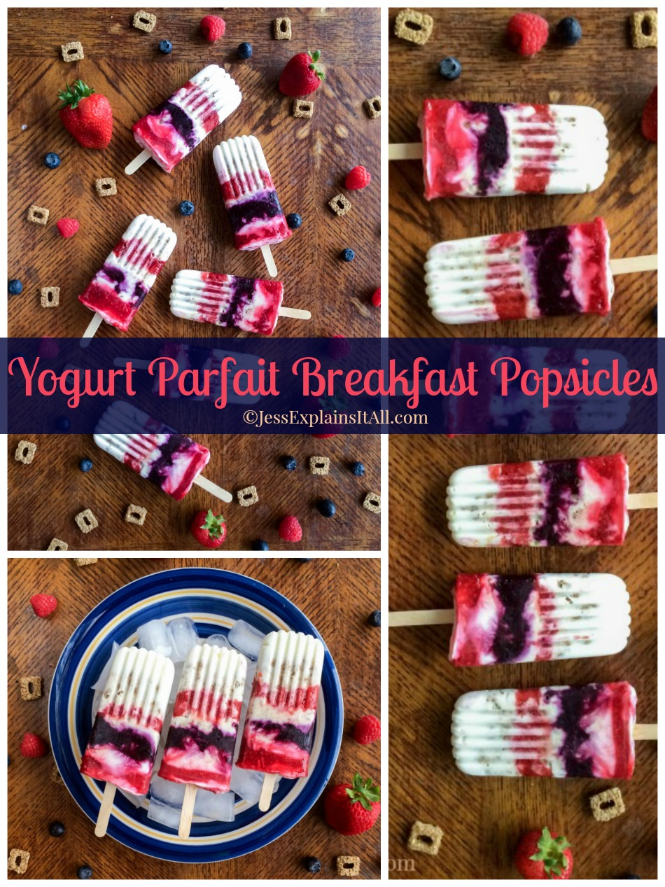 Are you in a breakfast rut? Swap your old breakfast with this recipe for yogurt parfait breakfast popsicles! They're a guilt-free breakfast treat! www.JessExplainsItAll.com #ReimagineCereal #CollectiveBias #ad