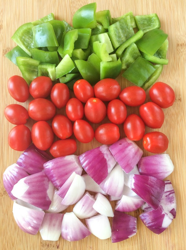 tomatoes, onions and peppers