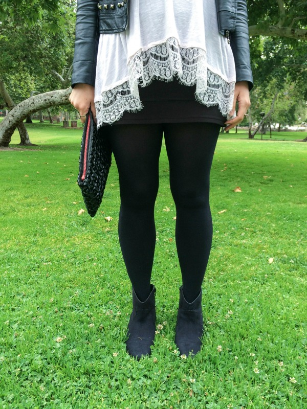 Black tights and ankle booties