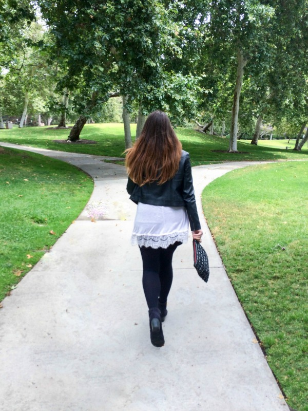 Model walking in a park