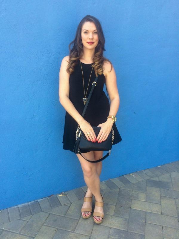 Black dress and bag