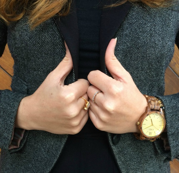 wood watch on a models wrist