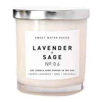 Lavender and Sage Natural Soy Wax Candle in a White Jar | Made in the USA