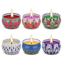 Angium Scented Candles Gift Set (Lavender, Rose, Peppermint, Grapefruit, Lemongrass, Orange) Soy Wax Tin Candles, Natural Fragrance Candles for Stress Relief and Aromatherapy Candles 6 Pack