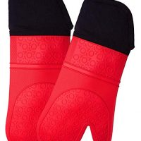 Extra Long Professional Silicone Oven Mitt - 1 Pair - Oven Mitts with Quilted Liner - Red - Homwe