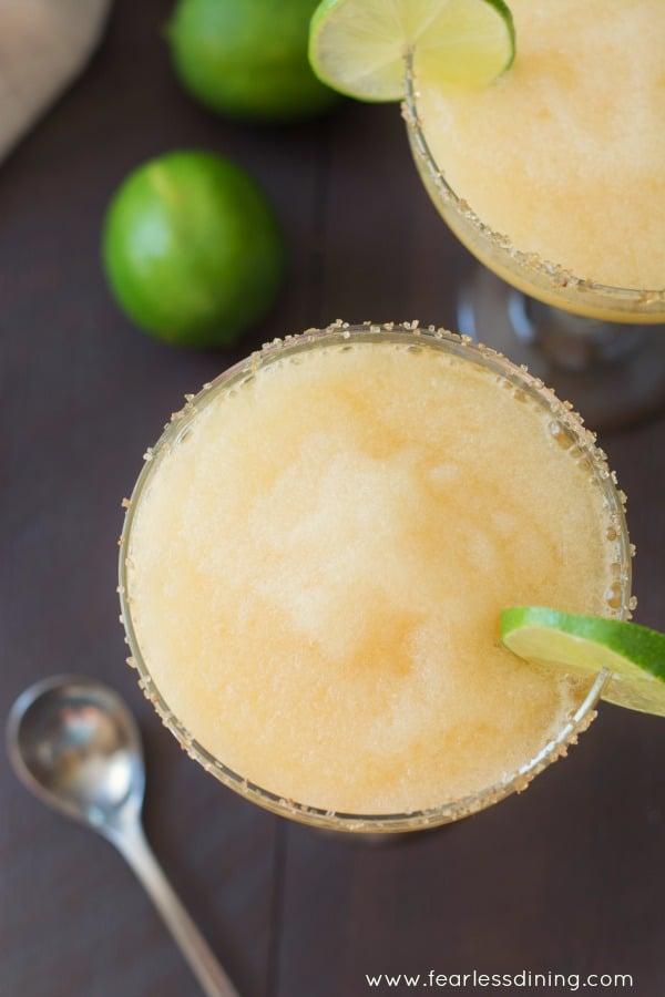 Frozen Peach Margaritas with a Ginger Sugar Rim