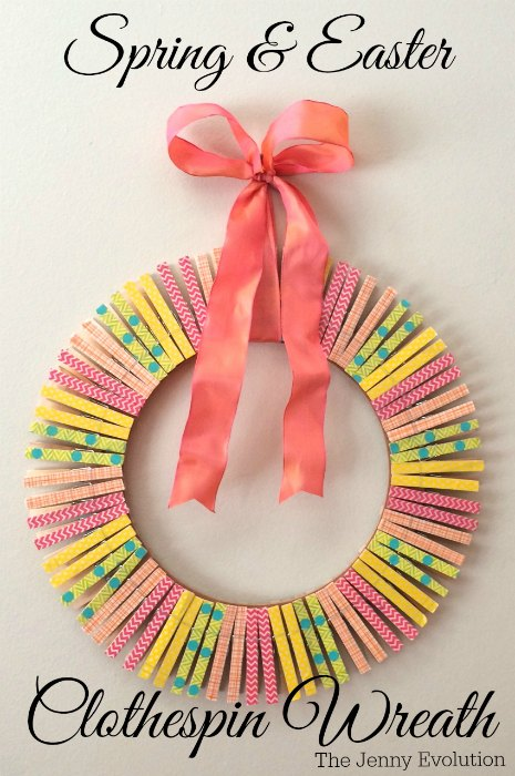 DIY Spring Easter Clothespin Wreath Tutorial