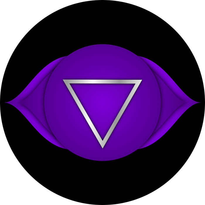 The symbol for the third eye chakra known in Sanskrit as Ajna.