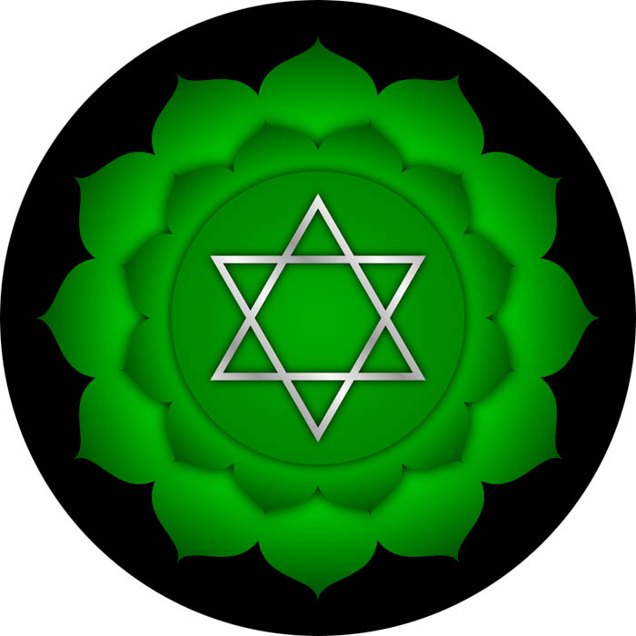 The symbol for the heart chakra known in Sanskrit as Anahata.