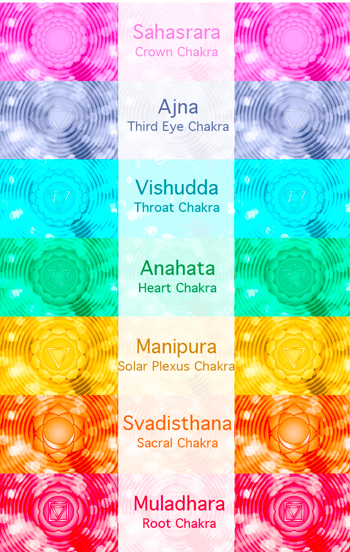 A graphic with chakra names written in english and sanskrit across their corresponding chakra symbols.