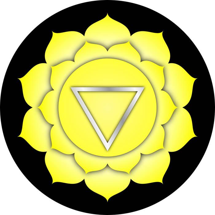 The symbol for the solar plexus chakra known in Sanskrit as Manipura.