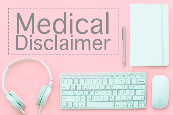 "office supplies with the text ""Medical Disclaimer"" across the photo."