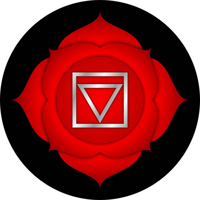 The symbol for the root chakra known in Sanskrit as Muladhara.