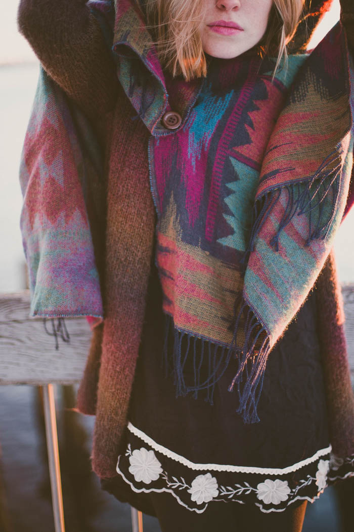 Girl in a plaid colorful scarf