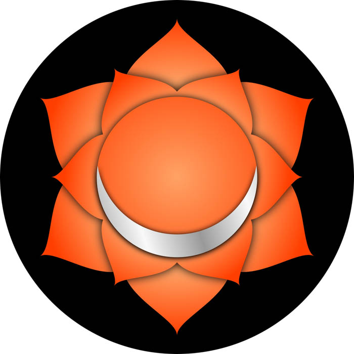 The symbol for the sacral chakra known in Sanskrit as Svadisthana.