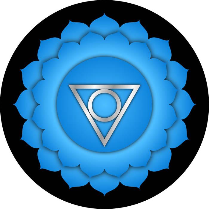 The symbol for the throat chakra known in Sanskrit as Vishudda.