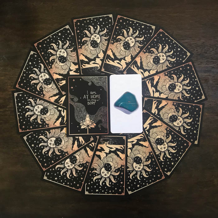 Dreamy Moons and Stone oracle cards pertaining to bloodstone meanings.